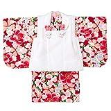 女の子ベビー着物 ボア被布セット ポリエステル 赤/桜 1才(80cm-90cm) 中国製