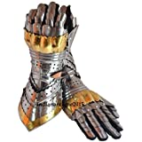 Armor-Pair-Brass-Accents-Gauntlet-Gloves-Medieval-Knight-Crusader-Steel-NEW
