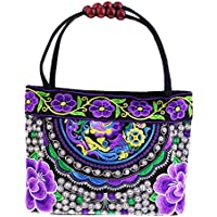 Prettyia Vintage Embroidery Womens Handbag Flower Embroidered Shoulder Bag 31x51cm #7