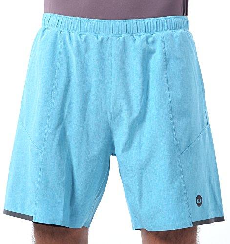 メンズ スポーツショートパンツ スパッツ付き ランニング 短パン スポーツウェア ハーフパンツ 吸汗速乾 MB06 blue XXL