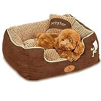 ペットベッド 犬用 猫用 コーデュロイ スクエア ベッド Sサイズ ブラウン あったか 冬