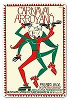 22cm x 30cmヴィンテージハワイアンティンサイン - カーニバルArroyano - プエルトリコ - 第十周年記念 - 16から1977年2月20日に - ビンテージな世界旅行のポスター によって作成された ホゼ・ローザ c.1977