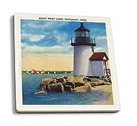 ナンタケット島–ブラントポイント灯台シーン 4 Coaster Set LANT-18793-CT