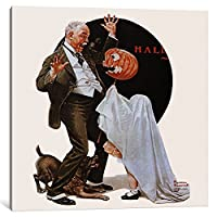 iCanvasART 1Piece祖父Frightened by jack-o-lanternキャンバスプリントby Norman Rockwell 0.75 by 18 by 18-Inch NRL82-1PC3-18x18