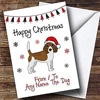 ビーグル犬ペットにからまたはPersonalized Christmas Holiday Greetingsカード