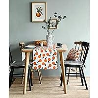 現代のシンプルなテーブルランナー、コットンオレンジ色の家の装飾的な党ギフトのベッドの旗 (Size : 36*180cm)