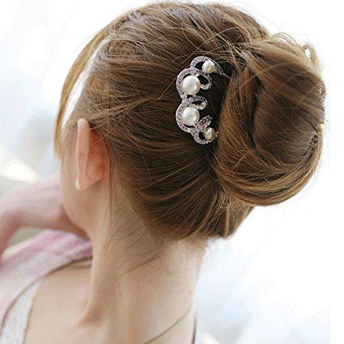 フェイクパールの髪飾り 美しいパープルストーン ヘアーアクセサリー レディース / 冠婚葬祭 結婚式 パーティー ドレス 振袖 留袖