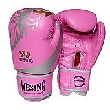 wesing ボクシング手袋PUレザートレーニング手袋のミット (ピンク)