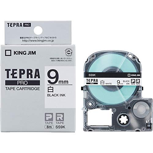 テプラ PRO用テープカートリッジ 白ラベル SS9K [黒文字 9mm×8m]