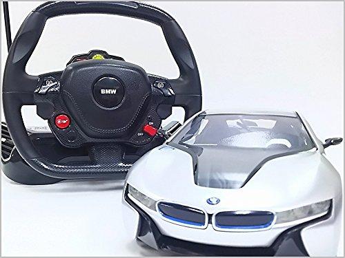 RASTAR◇BMW i8正規認証車RCハンドル型ステアリングコントローラー1/14ラジコンカー...