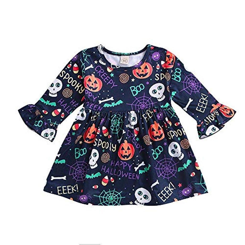 発明ラリーベルモントギャザーBHKK 子供 幼児の女の子の漫画のロングスリーブプリントカボチャのドレスハロウィーンの装飾 12ヶ月 - 4 歳 3 歳
