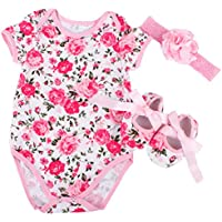 Rose Pattern Romper Clothes Headband Shoes Set for 20-60cm Reborn Newborn Baby Doll Matching Clothing Kids Birthday Gift