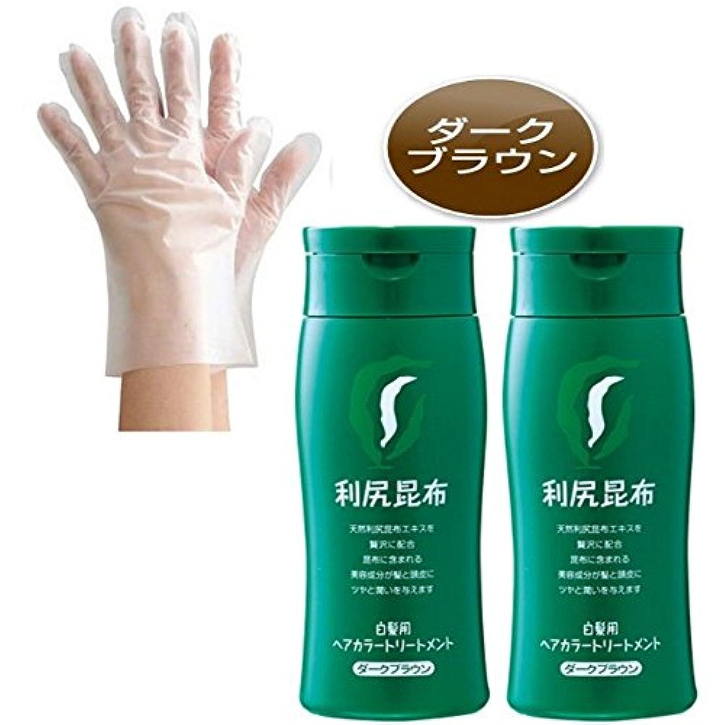 アレルギー欠かせない先利尻昆布ヘアカラートリートメント (ダークブラウン) 白髪染め 200g × 2個(使い捨て手袋付)【無添加?日本製】
