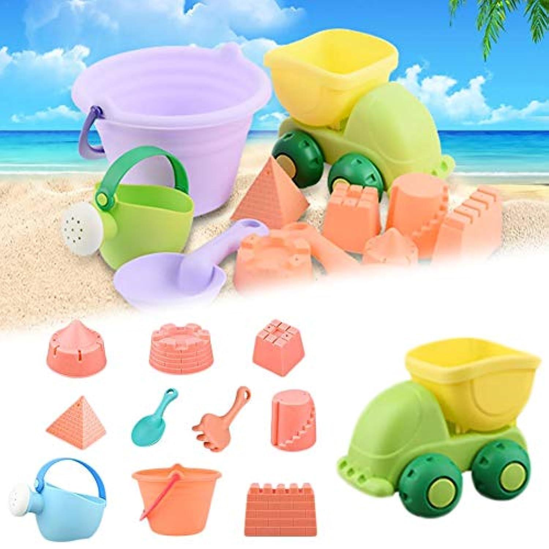 feileng 11点お砂場セット 砂遊びおもちゃ 子供ビーチバケツ型 柔らかいプラスチックプールのおもちゃセット 子供 誕生日プレゼント 男の子 女の子 お砂場 ごっこ遊び道具 キッズ 公園 おままごと