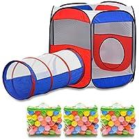 ottostyle.jp ボールハウス ボールテント 【トリコロール】 (連結トンネル100cm&カラーボール300個セット) 組立て簡単 キッズテント キッズハウス 室内遊具 折り畳み コンパクト収納 トンネル連結可能