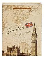 (pkpohs) エレガント 華やか ヨーロピアン ギフトバッグ [5枚セット +ミニカード] プレゼント ラッピング 紙袋 (M, ロンドンA)