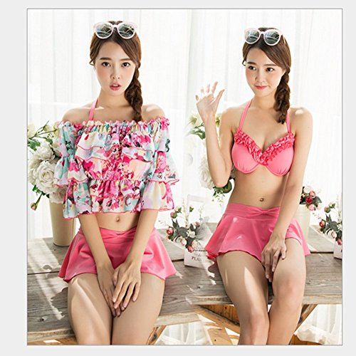 水着レディースワイヤービキニ水着大きい可愛く体型カバー3点セット(L,ピンク)