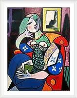 "Alonlineアート–Woman with book Pablo Picasso Framedのコットンキャンバスホーム装飾壁アート博物館品質フレームをハングアップする準備フレーム 12""x16"" - 30x41cm (Framed Cotton Canvas) VF-PCS101-FCC0F36-1P1A-12-16"