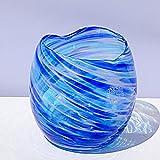 琉球ガラス:美海ハート型飲み口グラス(全7色):源河源吉 (濃いブルー)