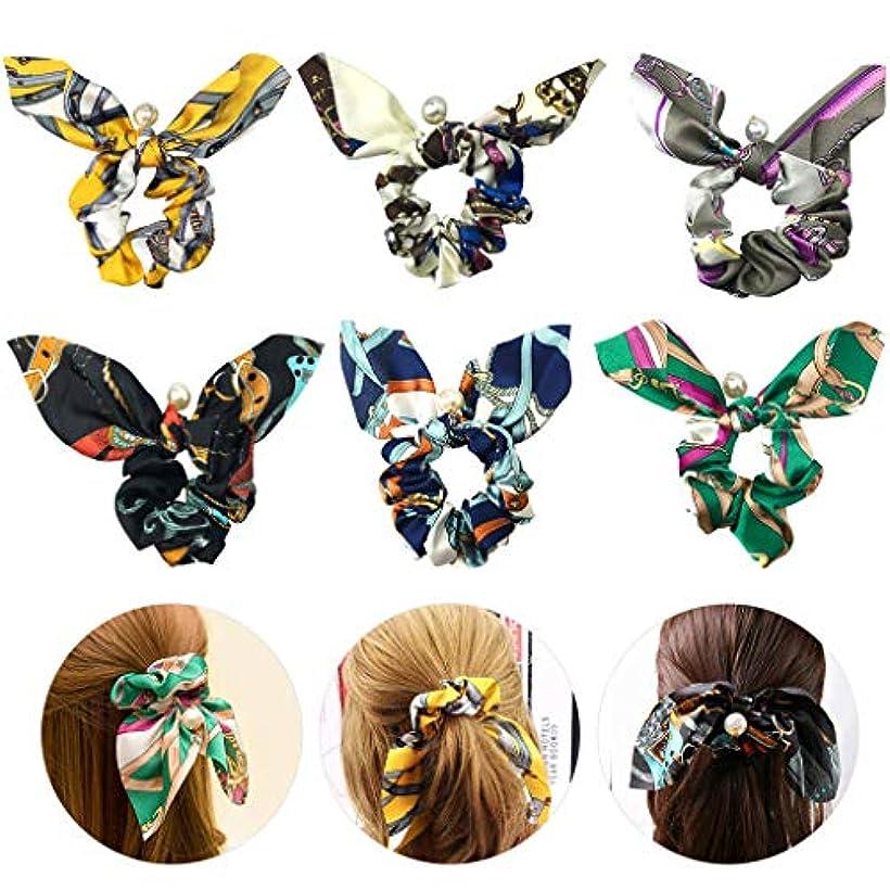 喜び精査する戸棚6個ヘアバンド ヘアバンドヘアバンド弾性ヘアバンド蝶ネクタイパールエレガントな美しい髪の弓 (多色)
