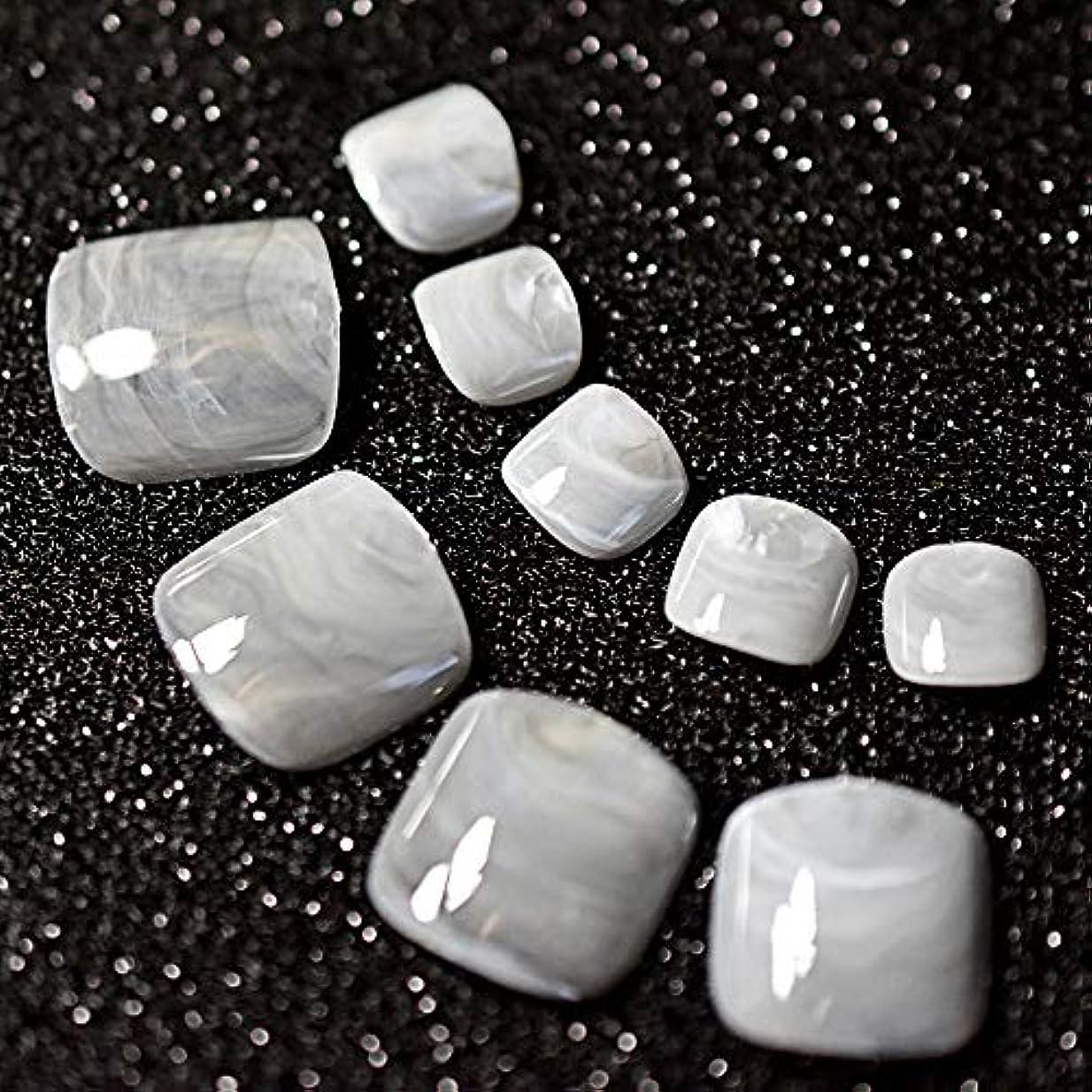 ファブリックスプーン慎重XUTXZKA 24ピースグレー大理石の足の爪偽の人工足の爪足の化粧の装飾のためのヒント