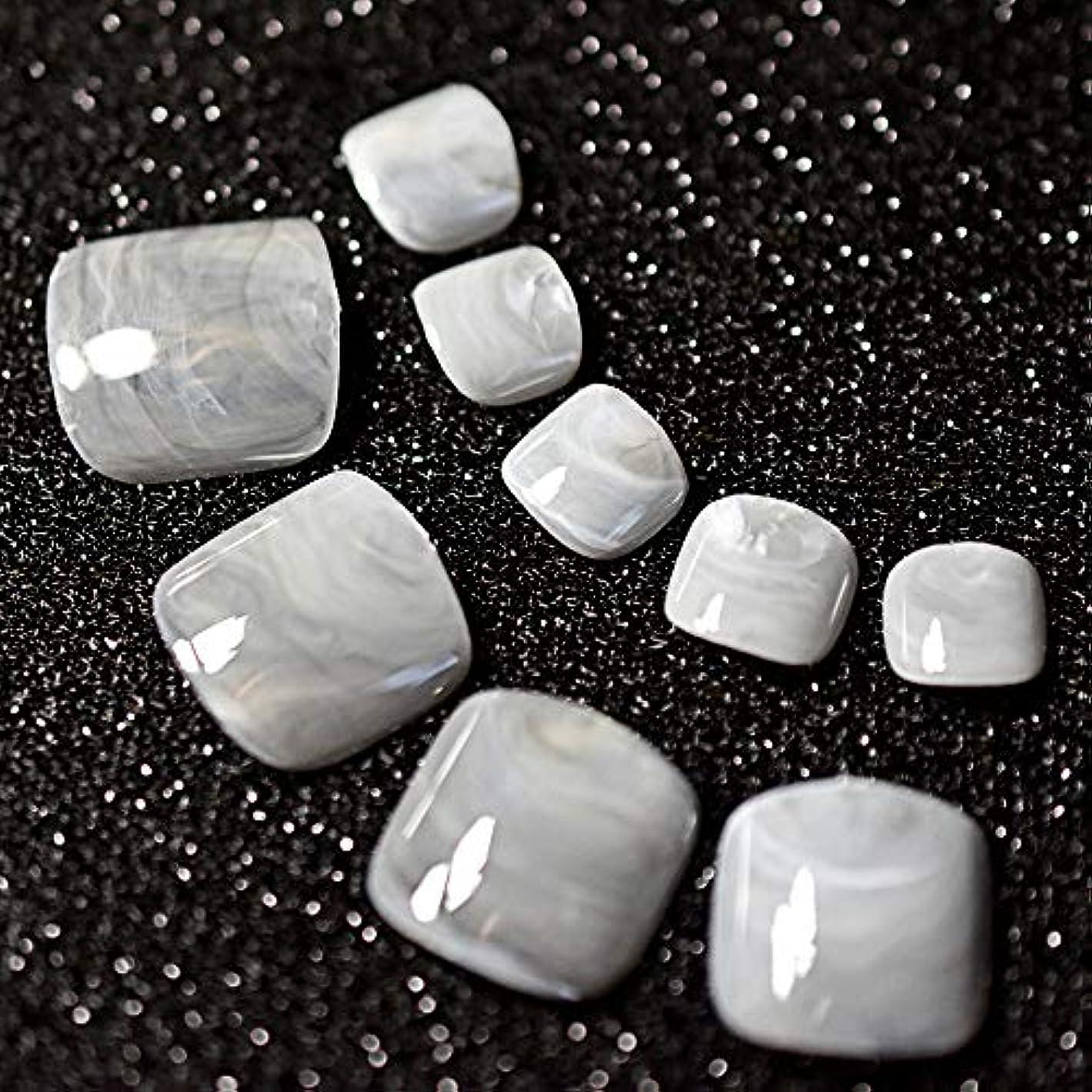 スモッグ手を差し伸べる群れXUTXZKA 24ピースグレー大理石の足の爪偽の人工足の爪足の化粧の装飾のためのヒント