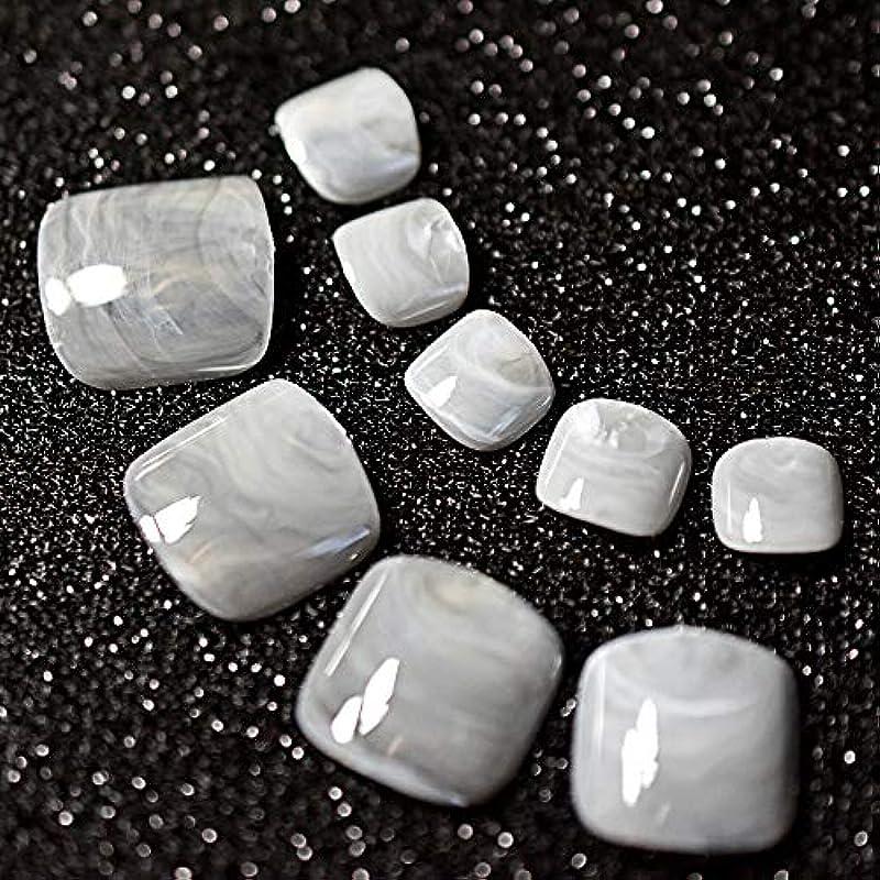 傷つける汚す検査官XUTXZKA 24ピースグレー大理石の足の爪偽の人工足の爪足の化粧の装飾のためのヒント