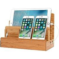 JOOCII 5台同時充電スタンド 竹製卓上充電ステーション スマホ充電 収納スタンド 木目調 Mac book/iPad/iPhone/Xperiaなど対応(12ヶ月保証)