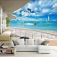 Xueshao カスタム3D壁画地中海現代バルコニー海青空壁画ソファリビングルームの背景装飾写真壁紙ロール-280X200Cm