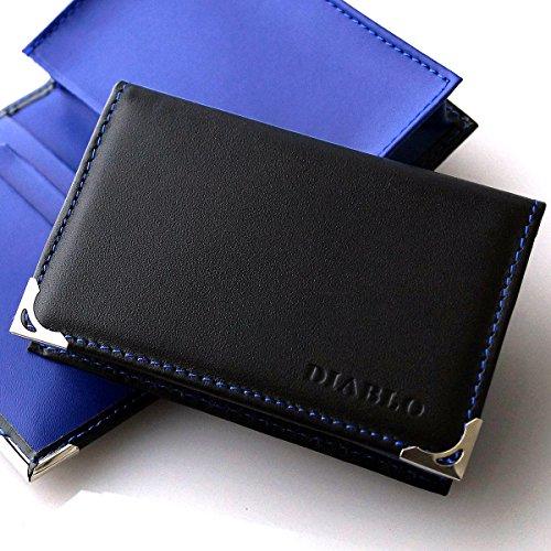 DIABLO 馬革×牛革 名刺入れ/カードケース KA-1043 【ブラック×ブルー】