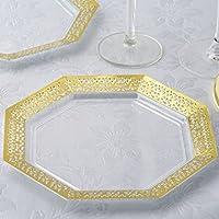 BalsaCircle 24pcs 8インチクリアwithゴールドレースリムプラスチック八角形プレート–使い捨てケータリングウェディングパーティーテーブルウェア