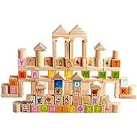 QXMEI 子供向けおもちゃ 子供向け積み木 100個 木製 子供用おもちゃ 木製 おもちゃのスペルプラグ おもちゃのサイズ:8.9インチ 8.6インチ