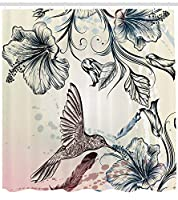 HiYash 自然なシャワーカーテンヴィンテージ鳥花肥厚浴室シャワーカーテンアパート装飾71x71inchi洗濯防水布12プラスチックフックを含む
