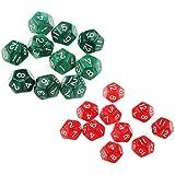 B Blesiya 約20枚 12面 ダイス サイコロ カップゲーム用 全2選択 - 赤+緑