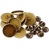 ピンバッジの針カボション用ピンズ製作10本組キャッチ留金付20mmブロンズ色