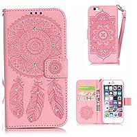 CUSKING iPhone 6 / 6s ケース 手帳型 ケース PUレザー カードポケット付き ストラップ付き 財布型 ケース アイフォン 6 6s 対応 カバー ドリームキャッチャー トーテム 柄 キラキラ ダイヤモンド ケース - ピンク