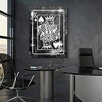 キャンバスculturesthe King Is Backモチベーション壁キャンバスウィンドーウォールアートプレミアムmaterials–USA製 18W x 24L/Blk/Wht
