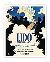 リドキャバレー - シャンゼリゼパリ、フランス - 夜こんにちは! - ビンテージな劇場のポスター によって作成された ルネ・グリュオ c.1971 - アートポスター - 41cm x 51cm