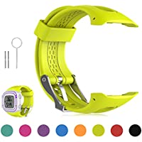 Feskio Soft Silicone Replacement Wrist Watch Strap for Garmin Forerunner 10/Forerunner 15 GPS Running Watch (Small/Large Size)