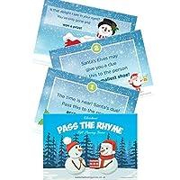 クリスマスパス小包ゲーム - 家族のためのクリスマスゲームと子供のためのクリスマスゲーム - クリスマスパーティーの楽しみ - 10 - RHYMEカード - A6はがきサイズ