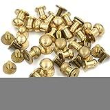 Angelakerry 真鍮 ギボシ ネジ式 レザークラフト 5mm 15mm 10個 アンティークゴールド [並行輸入品]