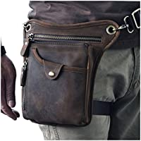 Le'aokuu Mens Genuine Leather Motorcycle Waist Pack Leg Bag Tactical Multi-Purpose Motorcycle Outdoor Bike Cycling Bag