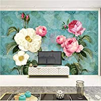 YWWZ&N カスタム壁布ヨーロッパスタイルの油絵ローズフラワー壁画壁紙リビングルームの寝室の壁の装飾3D