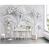 Wuyyii カスタム壁紙エレガントな審美的な絵画の花北欧のテレビの背景の壁のリビングルームの寝室の壁画3Dの壁紙