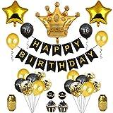 BESTOYARD 誕生日の飾り16歳の誕生日黒と金の王冠の形の風船紙吹雪ケーキトッパーパーティーセット(表示のとおり)