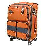 ソフトスーツケース サイレント4輪 拡張機能 大容量多機能ポケット TAS搭載(00409-20409) (S-00409, オレンジ)