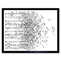 Music Illustration Sheet Music Blowing Away Breeze Art Print Framed Poster Wall Decor 12X16 Inch 音楽図音楽ポスター壁デコ