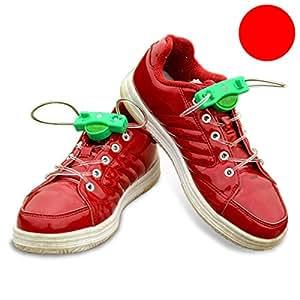 ZooooM 左右セット LED 靴紐 光る クツ イベント 靴 スニーカー イルミネーション パーティー グッズ おもしろ ひも 面白 カラフル 紐 賑やか 足 脚 輝く ライト ユニーク (レッド) ZM-HIMOLED-RD