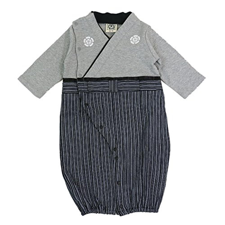 ベビー 新生児 ベビー服 ツーウェイオール 兼用ドレス セレモニードレス 袴風 男の子 カバーオール グレー 50-70 30670506GY5070