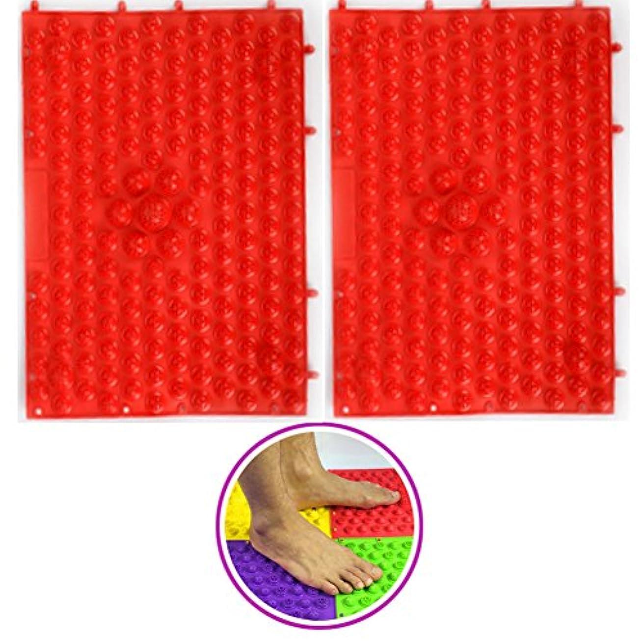 障害膨らみデコラティブ(POMAIKAI) 足つぼマット マッサージシート 健康 ダイエット 足裏マッサージ 2枚セット(レッド)
